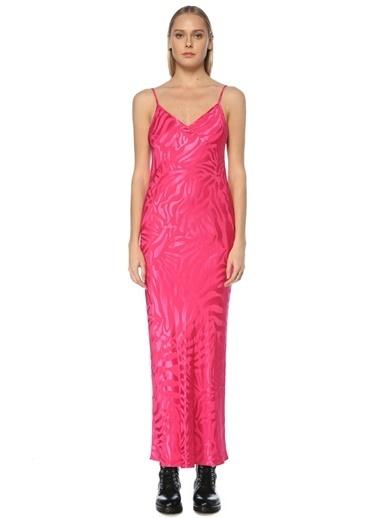 Beymen Studio Beymen Studio  V Yaka Askılı Jakarlı Maksi Elbise 101594048 Fuşya